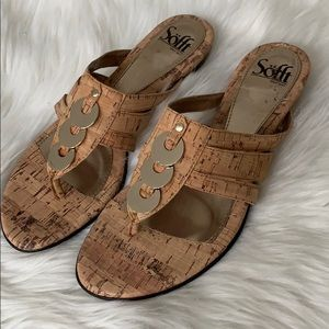 Women's Sofft cork and gold design sandals